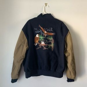 Treeline Outfitters Eagle Embroidery Bomber Jacket